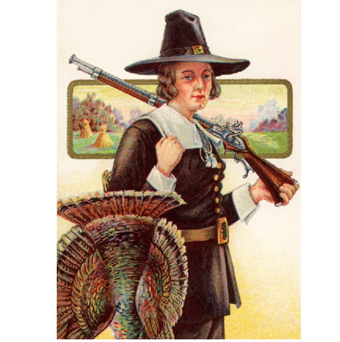 Pilgrim Hunter With Turkey Graphic