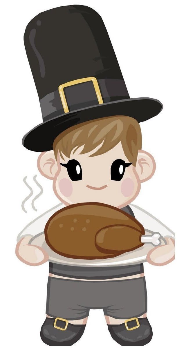 Pilgrim Boy with Turkey on Platter