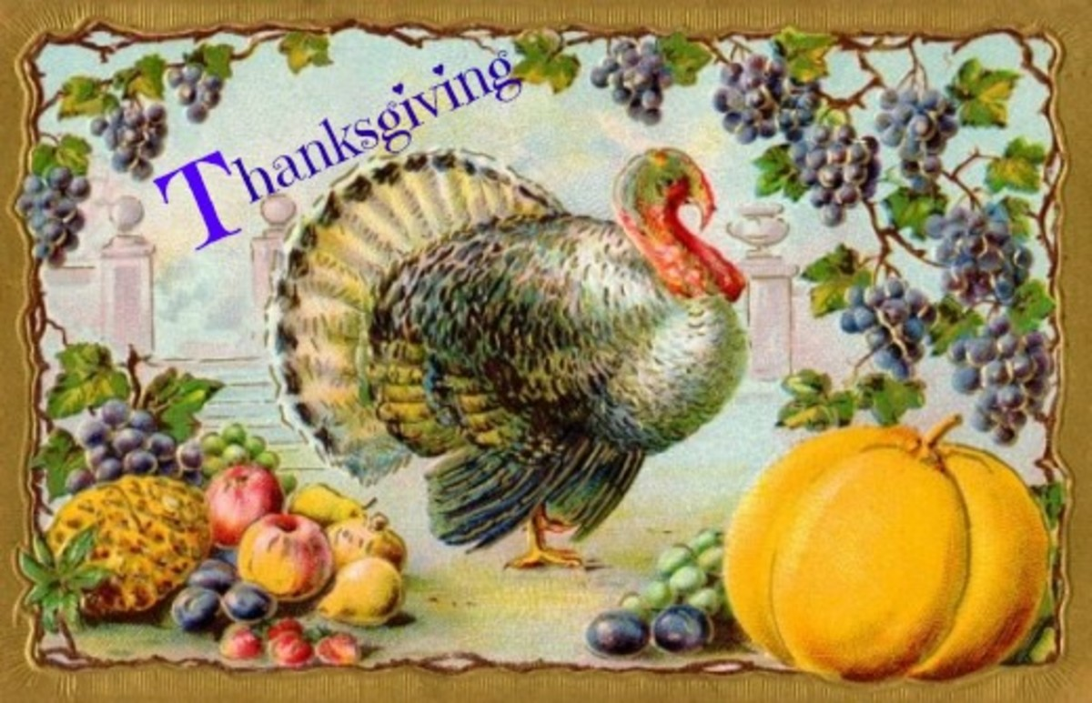 Thanksgiving Image with Turkey, Fruit and Pumpkin