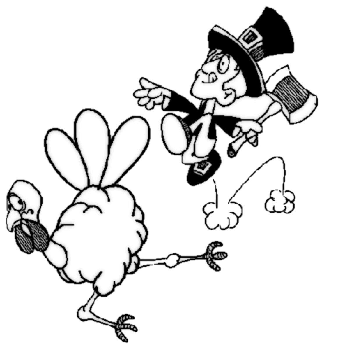 Pilgrim Chasing Turkey Coloring Page