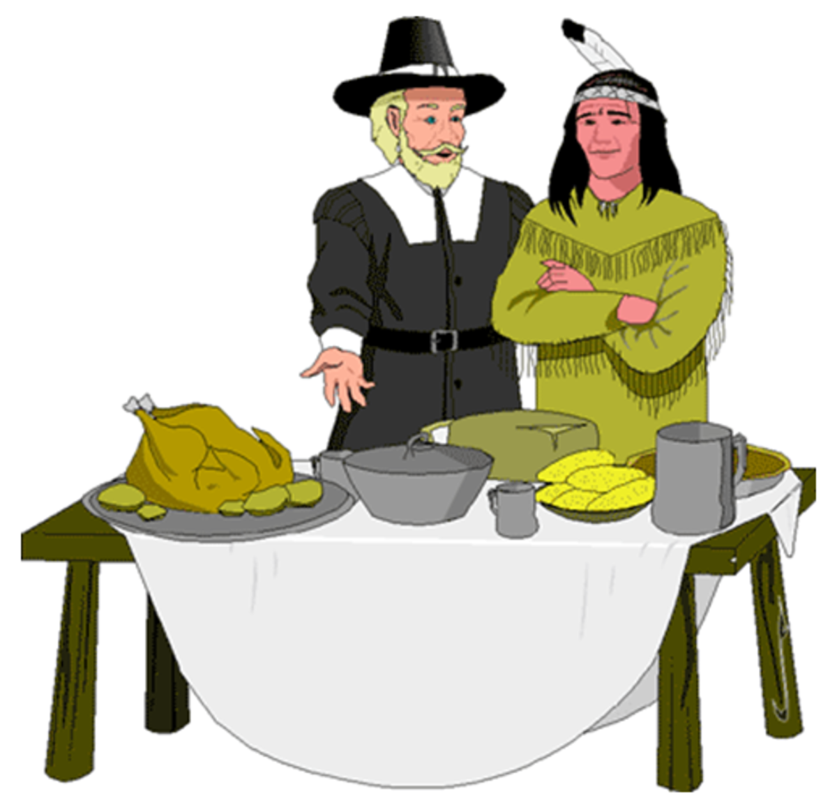 A Pilgrim and an Indian at a Thanksgiving Table