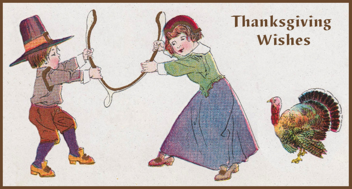 Thanksgiving Wishes with Pilgrim Children and Turkey  Wishbone