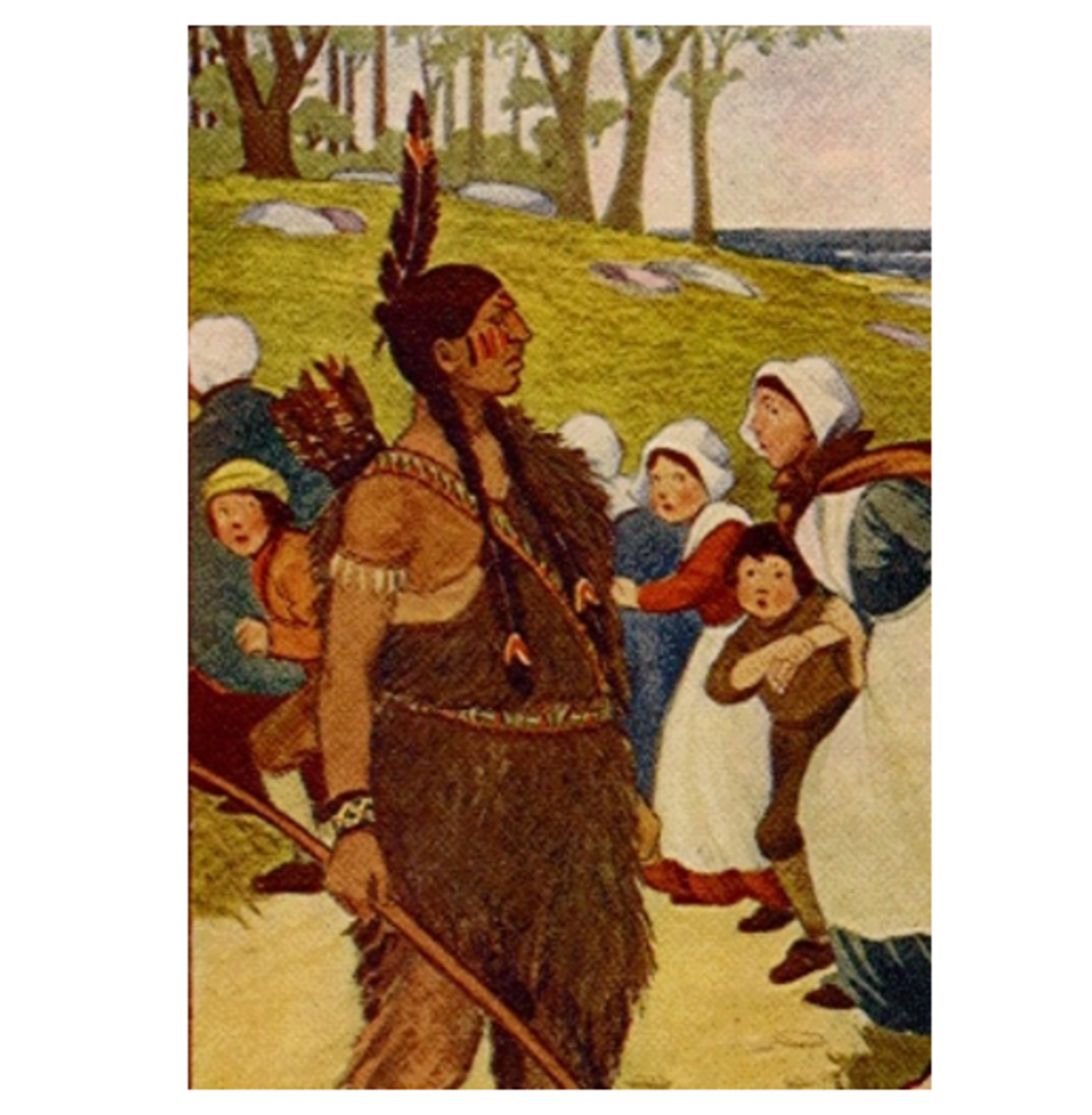 Plimoth Pilgrims Meet a Native American for the First Time