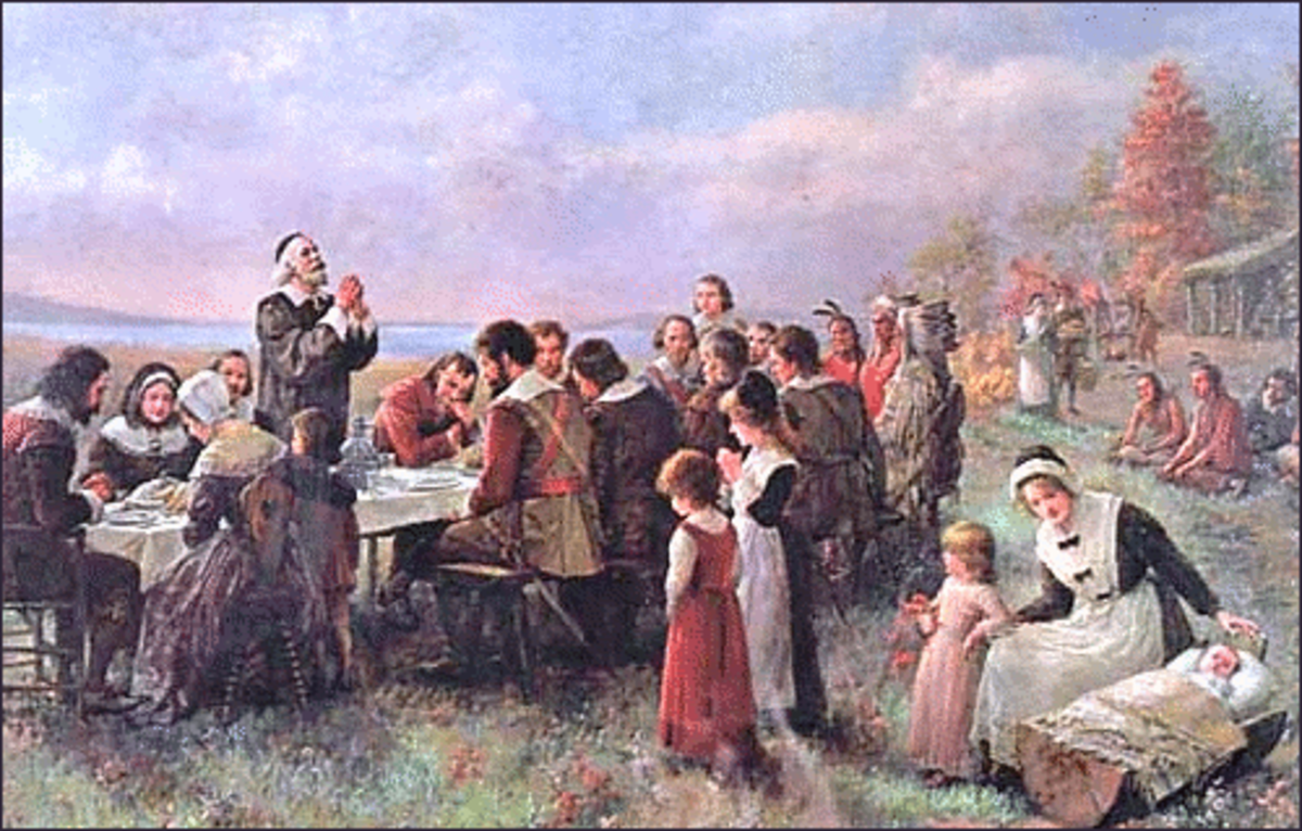 """The First Thanksgiving at Plymouth"" Painting (Color Enhanced)"