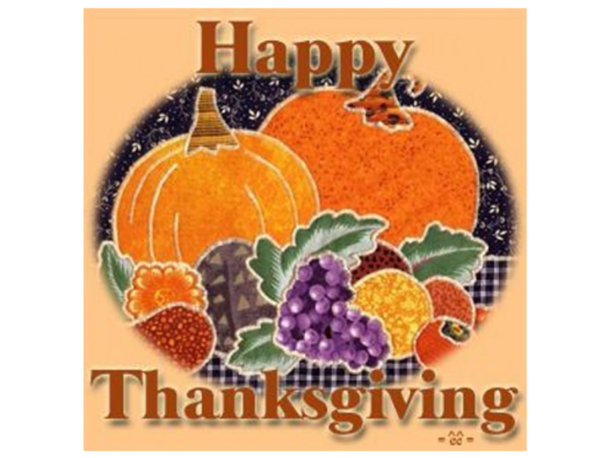 Happy Thanksgiving with Pumpkins and Fruit