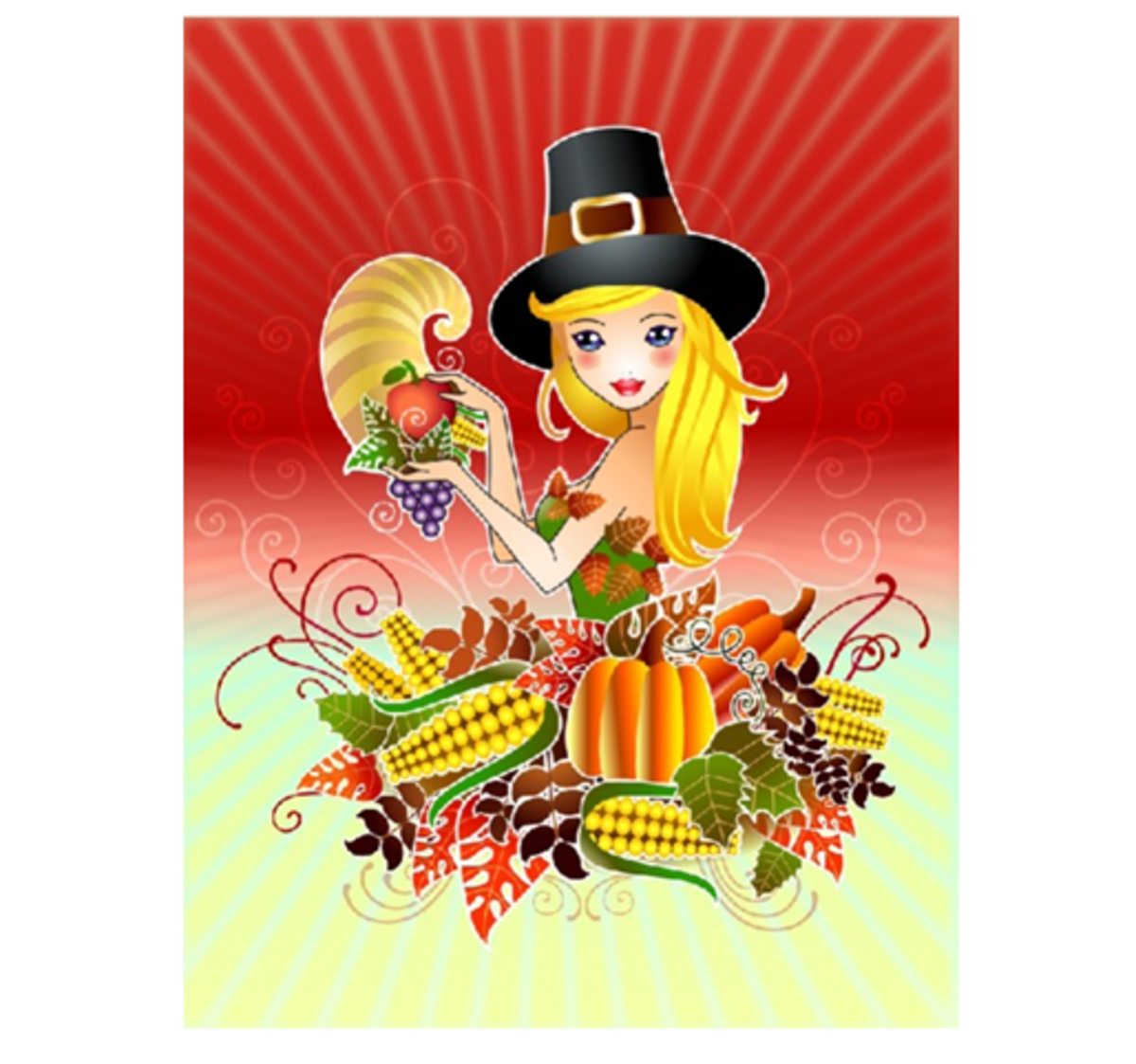 Pilgrim with Fall Harvest and Cornucopia