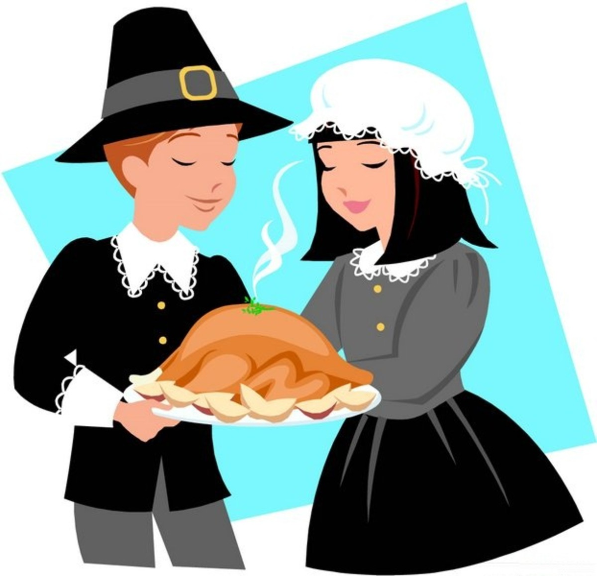 Pilgrim Man and Woman with Turkey Platter