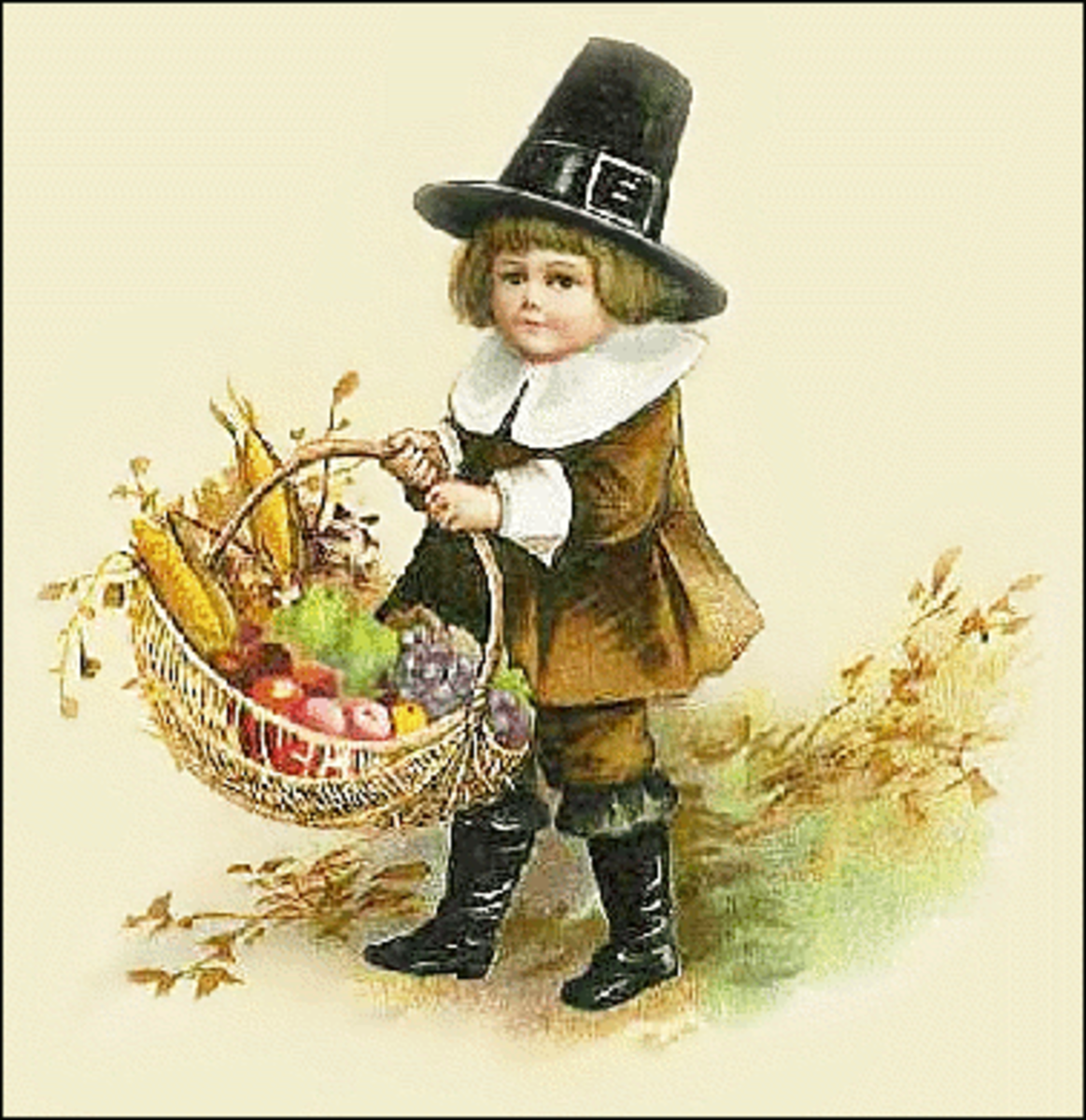 Pilgrim Child with Harvest Basket