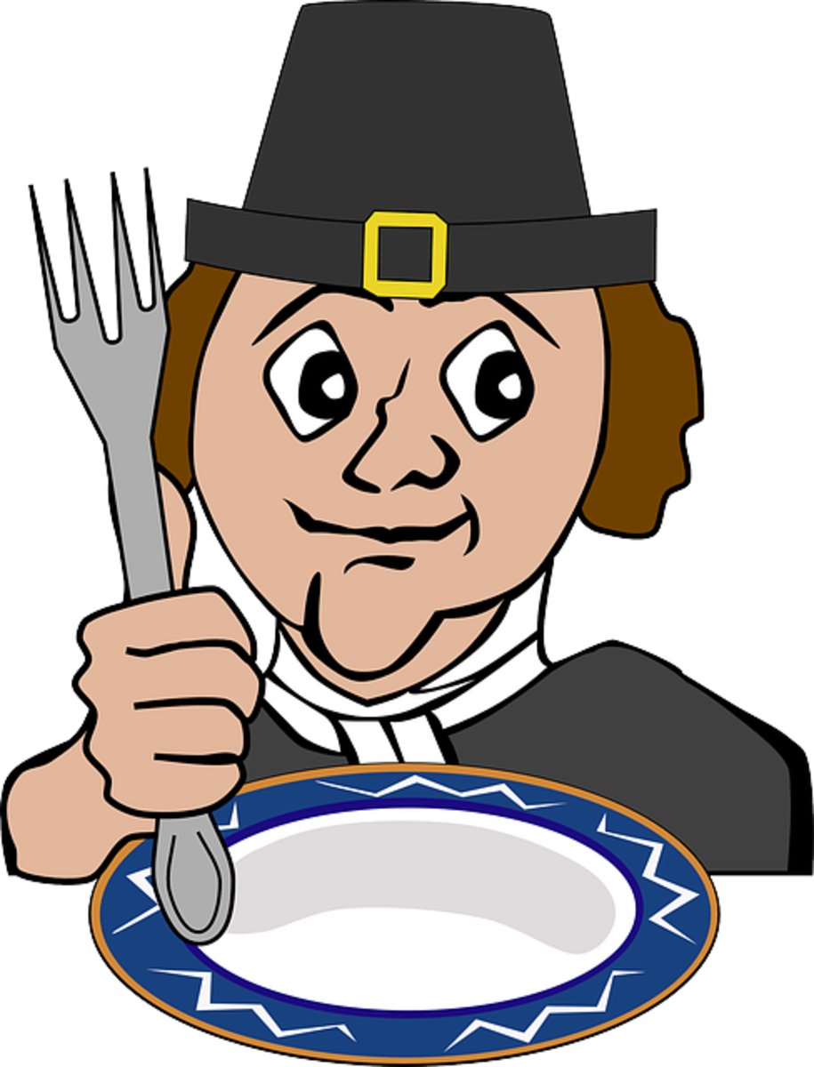 Funny Pilgrim Cartoon Man