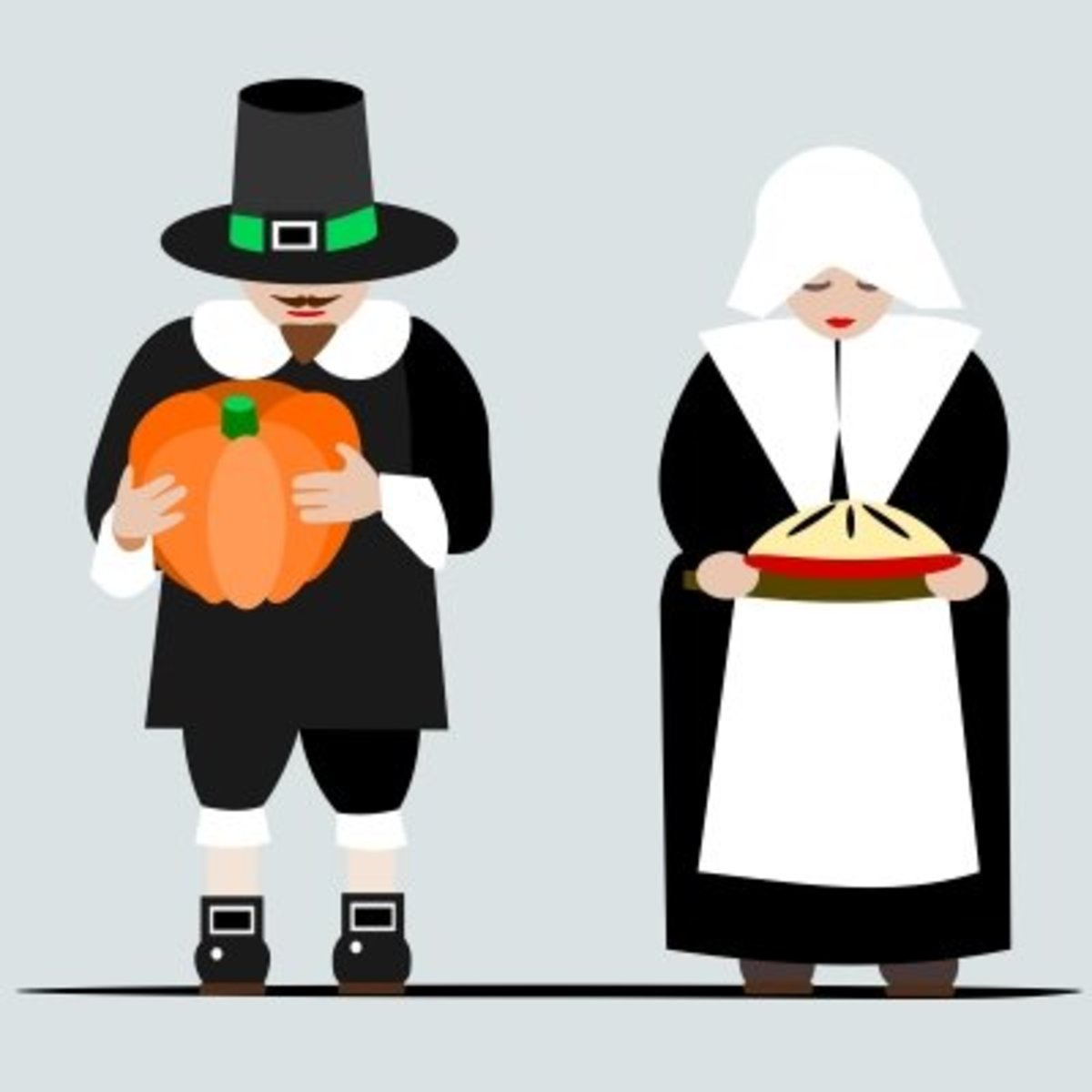 Pilgrim Man and Woman with Pumpkin and Pie
