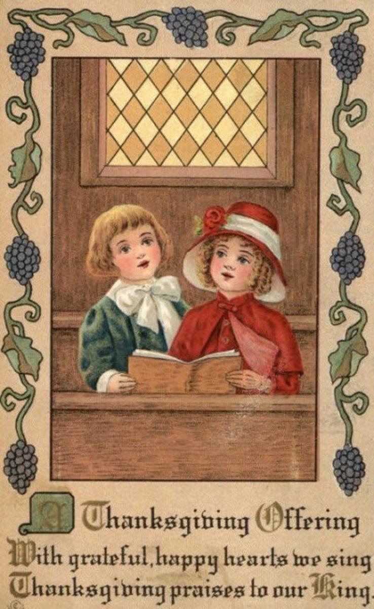 Pilgrim Children Saying Thanksgiving Prayers