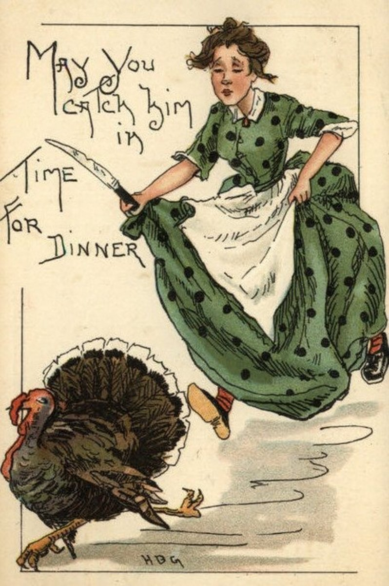 Woman Running  to Catch Turkey
