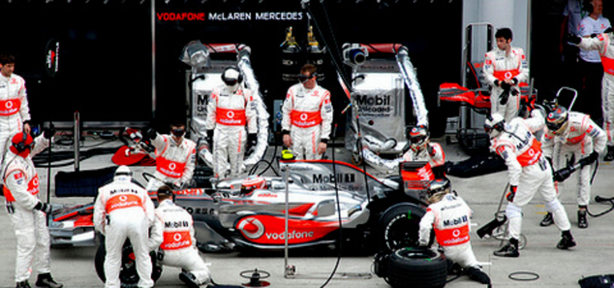 Vodafone McLaren Mercedes team at F1 Petronas Malaysian Grand Prix