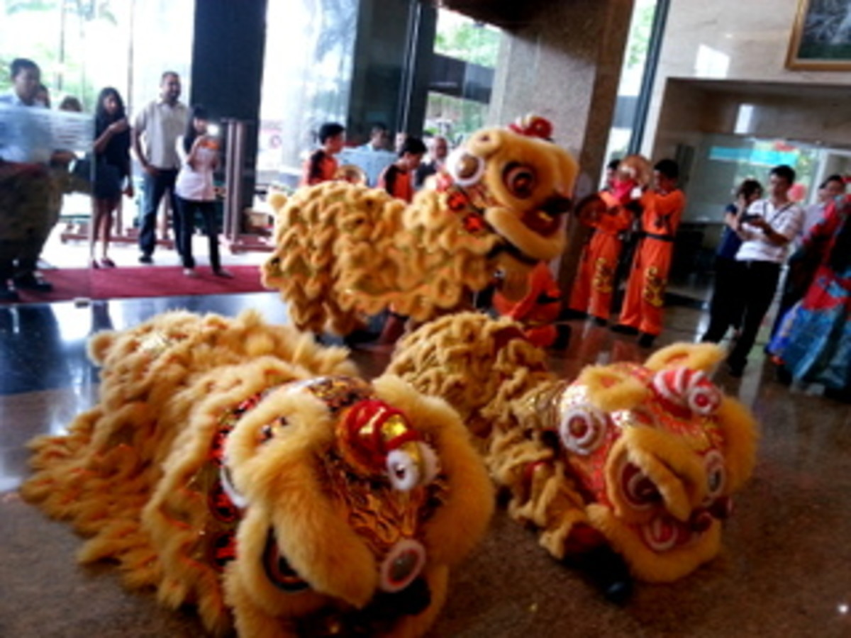 Lion Dance performed during Chinese New Year in an office building, to bring luck and prosperity