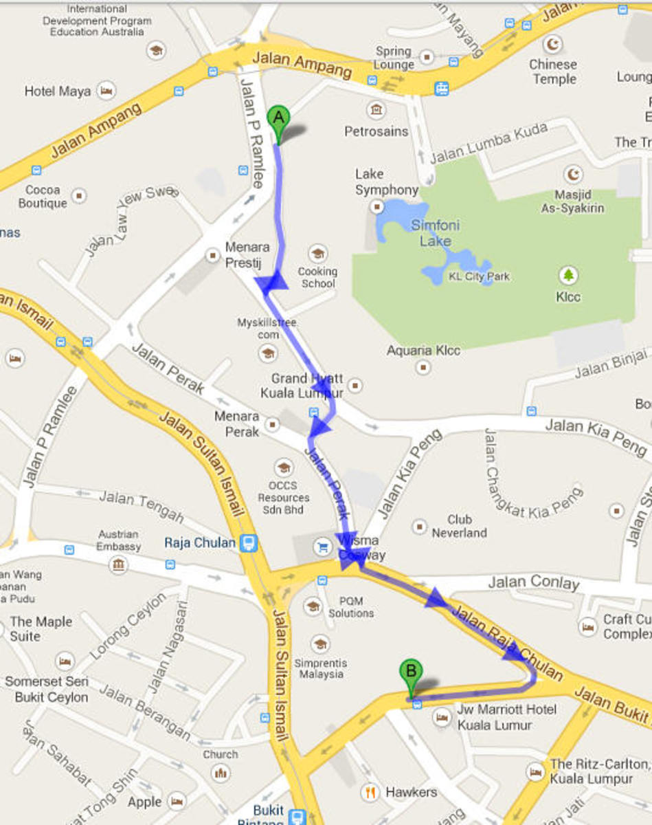 From Petrone Towers to Pavilion, according to Google it's a 22 minutes walk :)