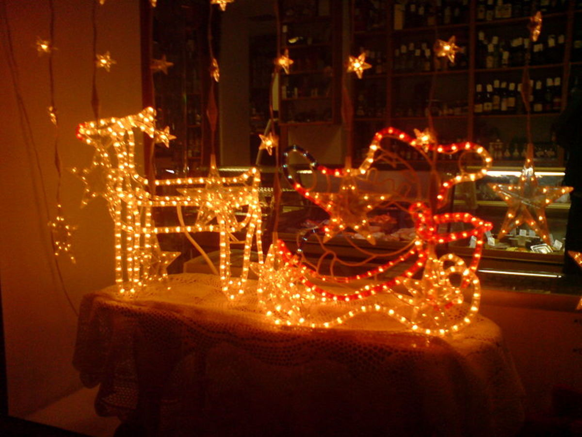 Decorating your windows with Christmas themed lights and different characters or other Christmas items makes your house stand out more. Take a look at this Reindeer and Sleigh lighting with Star lights round the outside of the window.