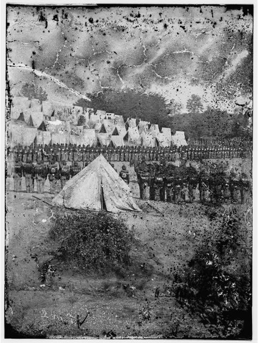 Photo of the Excelsior Brigade drawn up for a review