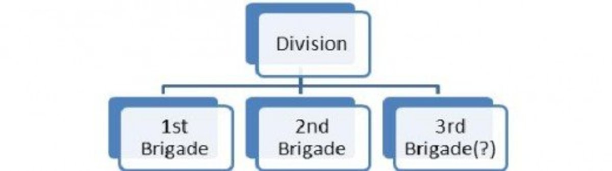 Figure 2: A Division subdivided into two or three Brigades.