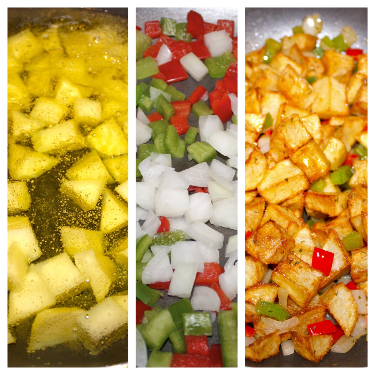 Left: potatoes cooking in Canola oil (Step 1). Center: onion, green bell pepper and red bell pepper sauteing in butter (Step 3). Right: potatoes added to sautéed vegetables, and all spices added mixed well together (Step 4 and 5).
