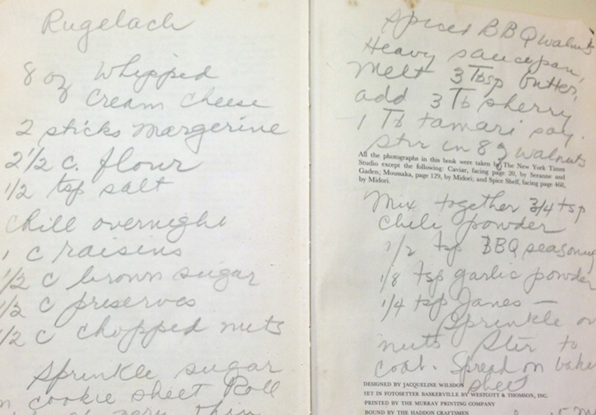 My mother wrote my grandmother's rugelach recipe in the back of her favorite cookbook, which I inherited.