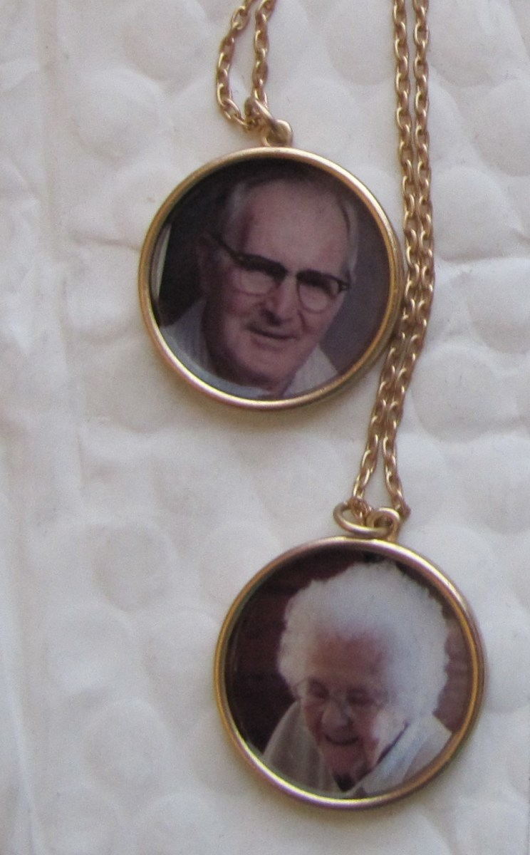 These necklaces show Mom and Dad in their retirement years. I had them made at Zazzle.