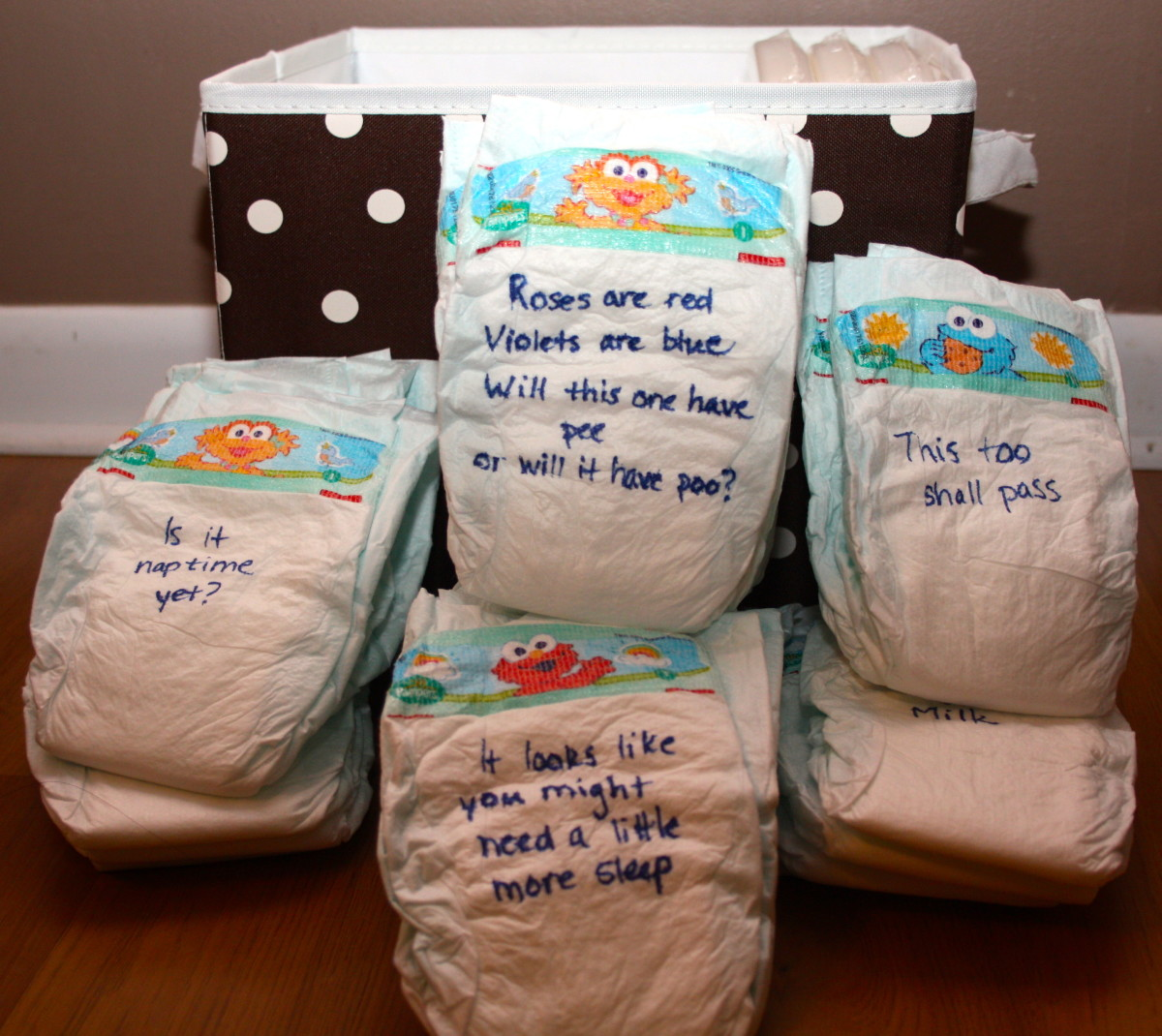 Entertaining And Practical Baby Shower Game Messages On Diapers