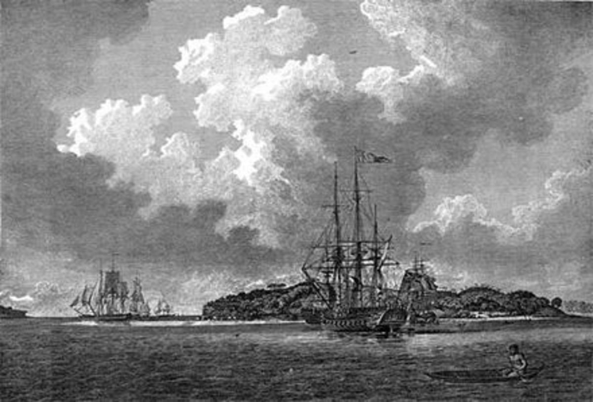 An engraving of the First Fleet in Botany Bay at voyage's end in 1788, from The Voyage of Governor Phillip to Botany Bay. Sirius is in the foreground; convict transports such as Prince of Wales are depicted to the left.