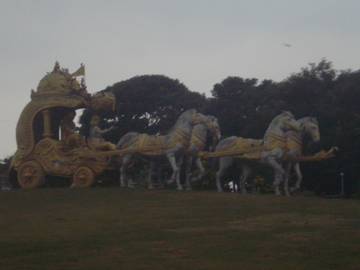 A sculpture depicting a scene from the Mahabharatha