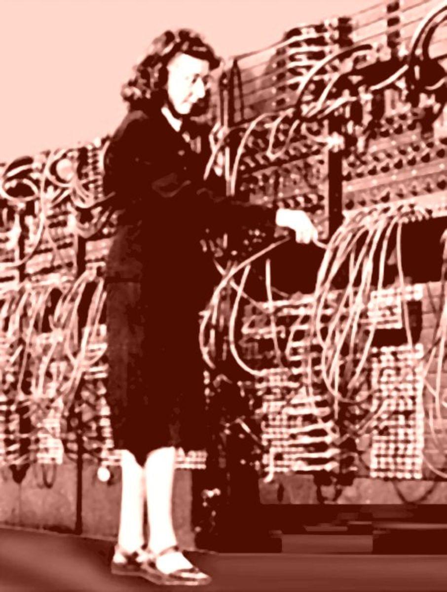 ENIAC programmer at work.