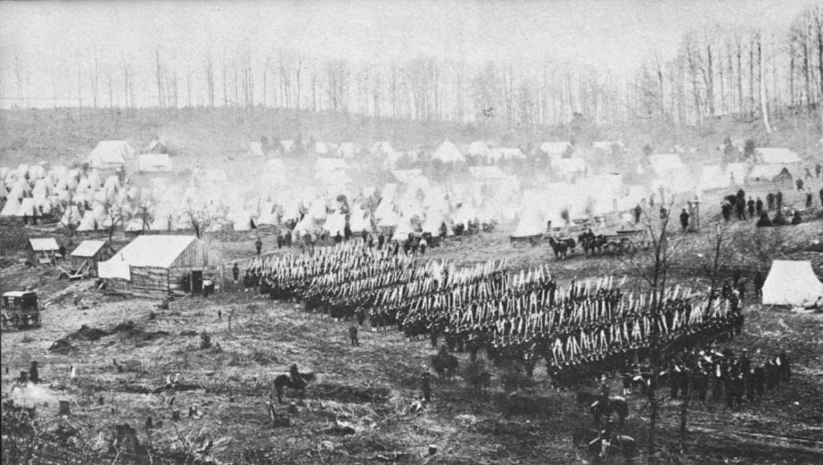 A Pennsylvania regiment lines up to march to the parade grounds for drill