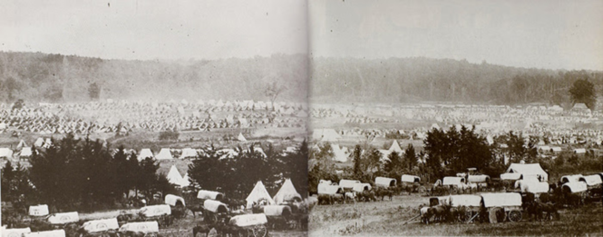 A camp in the field on the Virginia Peninsula