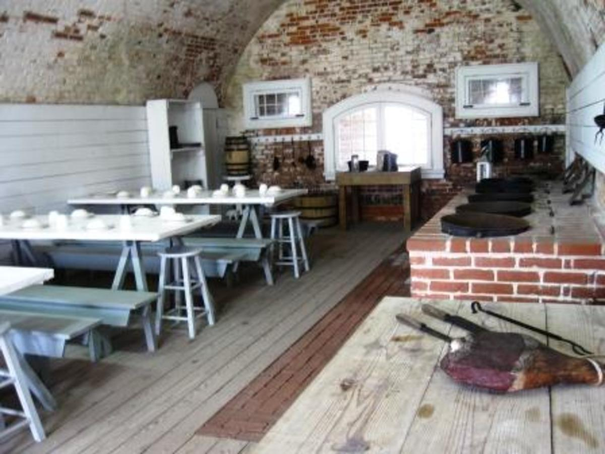A mess hall inside Fort Macon