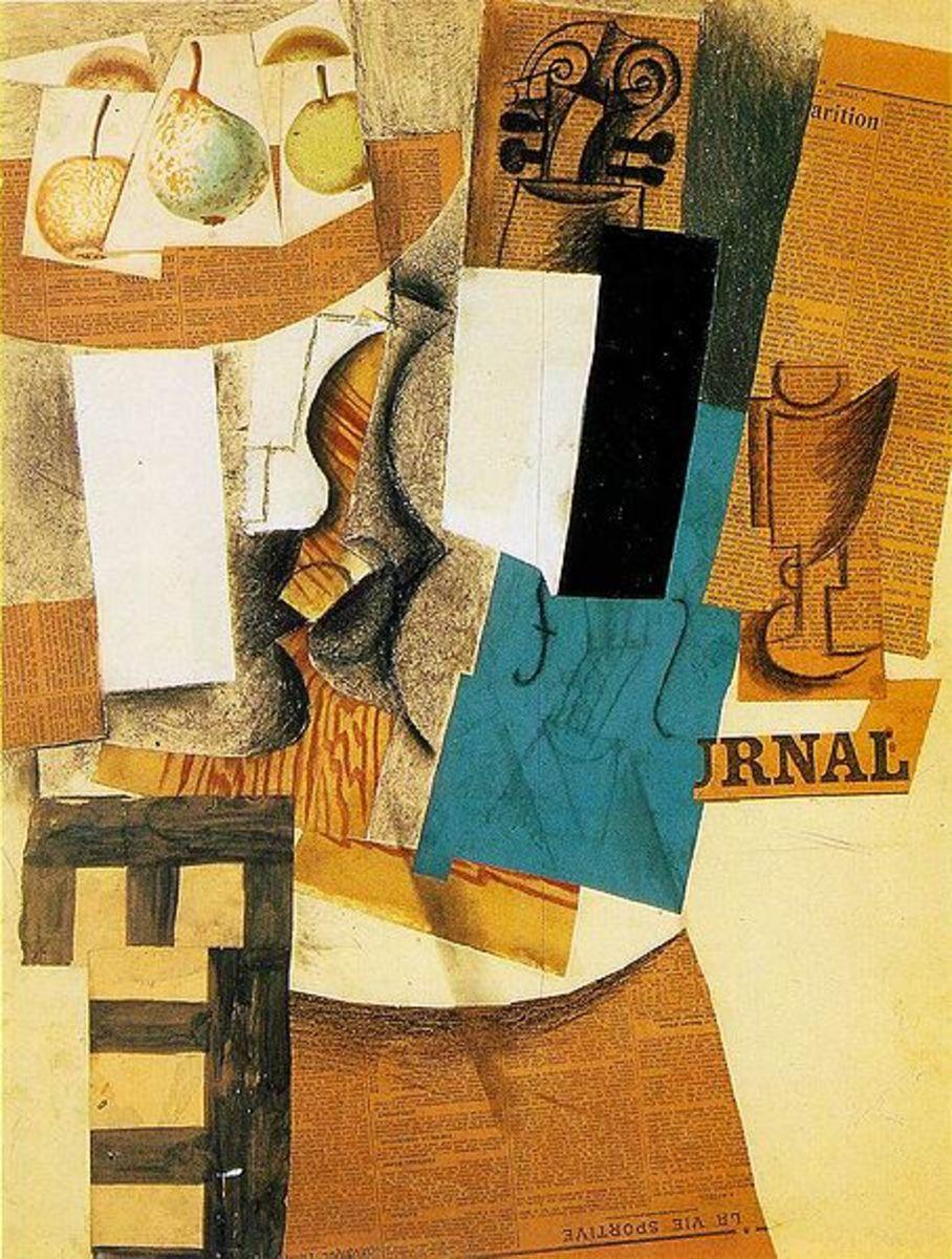 Collage: Compotier avec fruits, violon et verre | Fruit Bowl with Fruit, Violin, and Glass