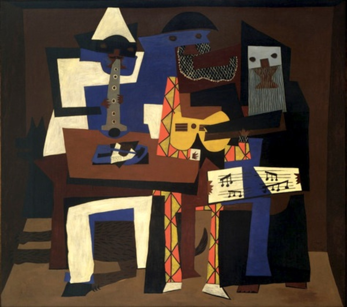 Pablo Picasso's Three Musicians (1921) — Publication of this low-resolution image is permissible under the Fair Use rule due to the historical significance of the painting.