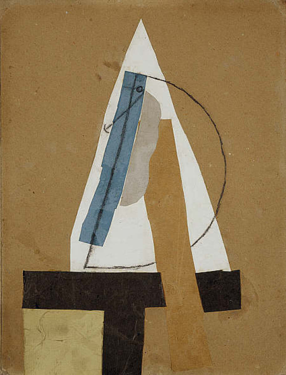 Collage: Tête | Head (1913-1914) — cut and pasted colored paper, gouache, and charcoal on paperboard