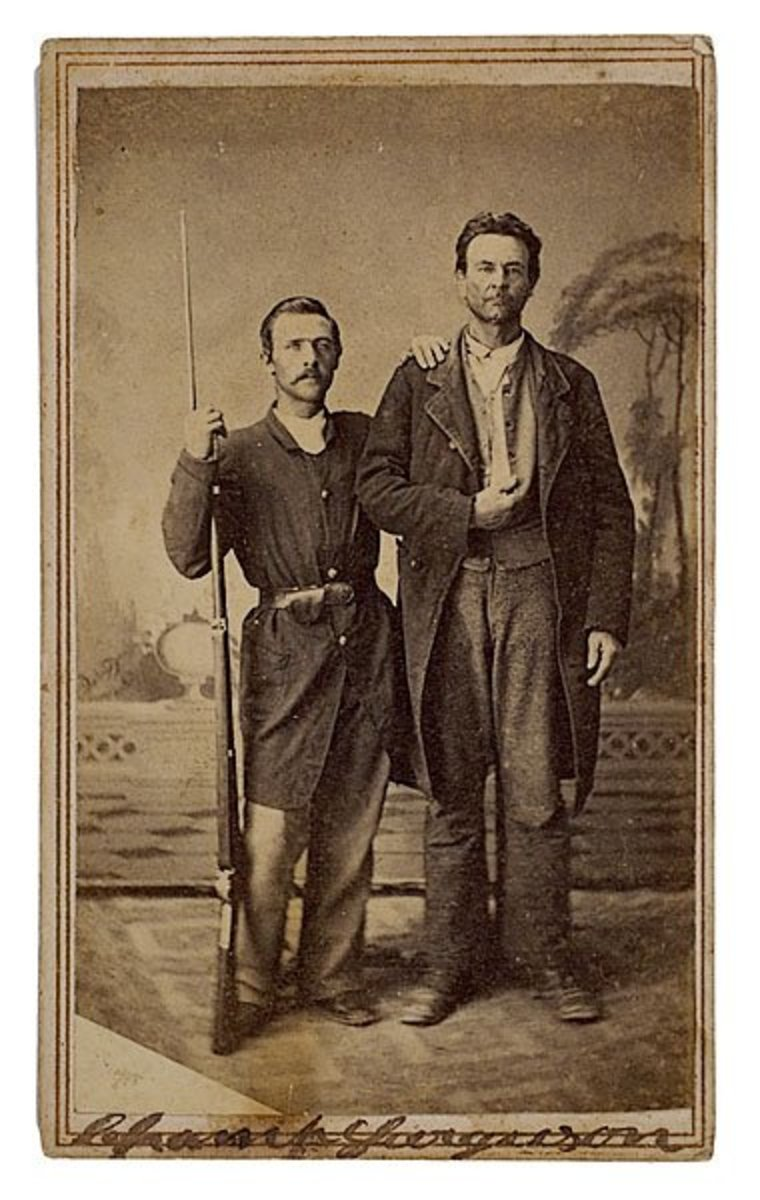 Champ Ferguson, right, with Federal soldier in 1865.