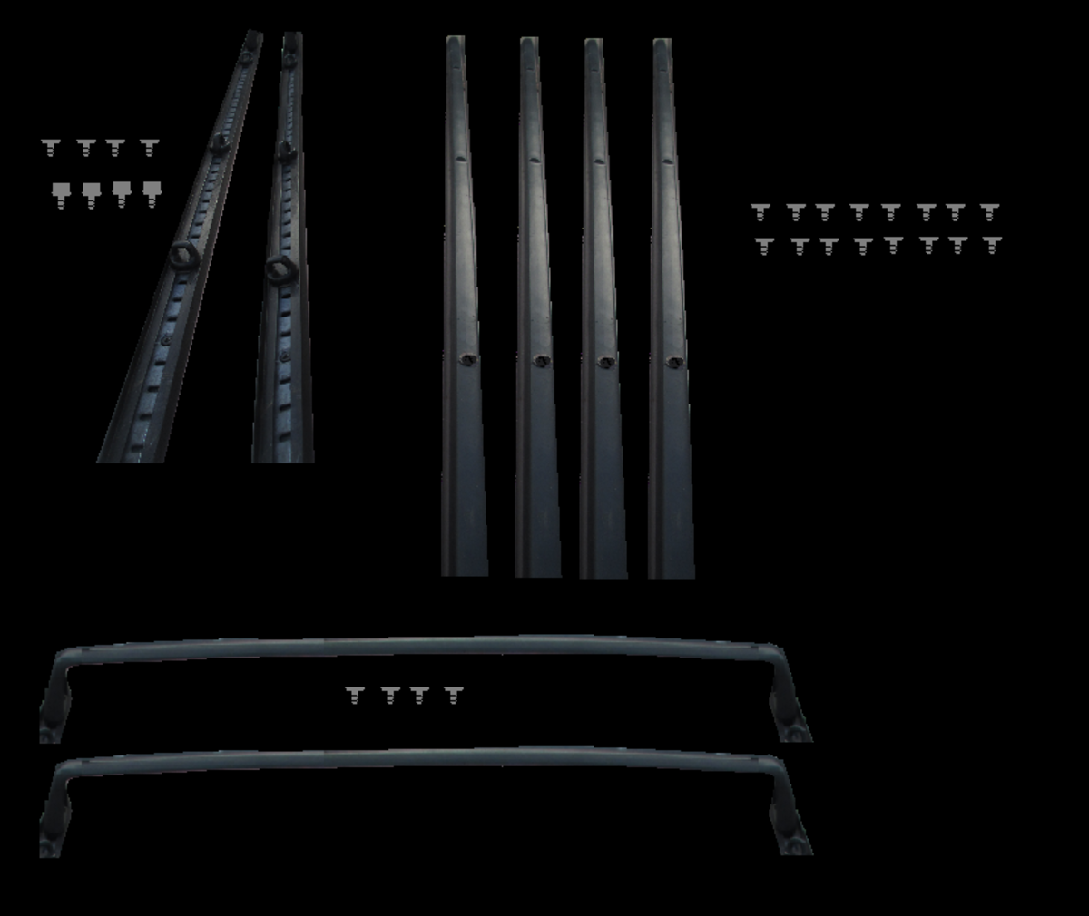 Clockwise from top left: 2 base rails with 8 attaching screws, 4 support rails with 16 attaching screws and 2 end rails with 4 attaching screws.