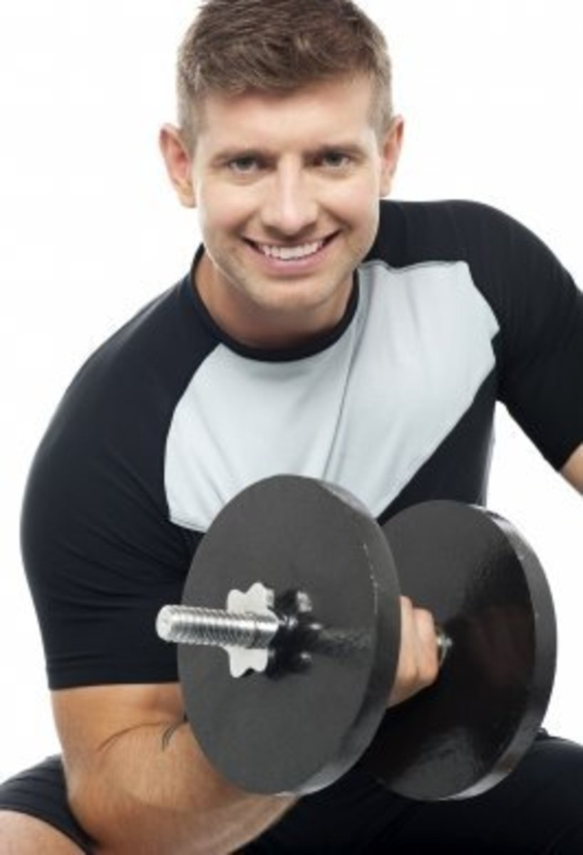 Men with bulky arms look stronger.