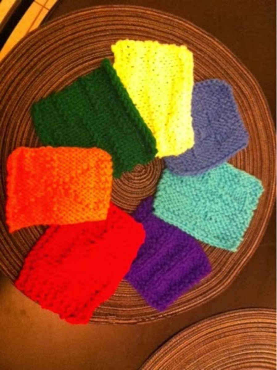 Here's a picture of all of the 7 knitted coasters!