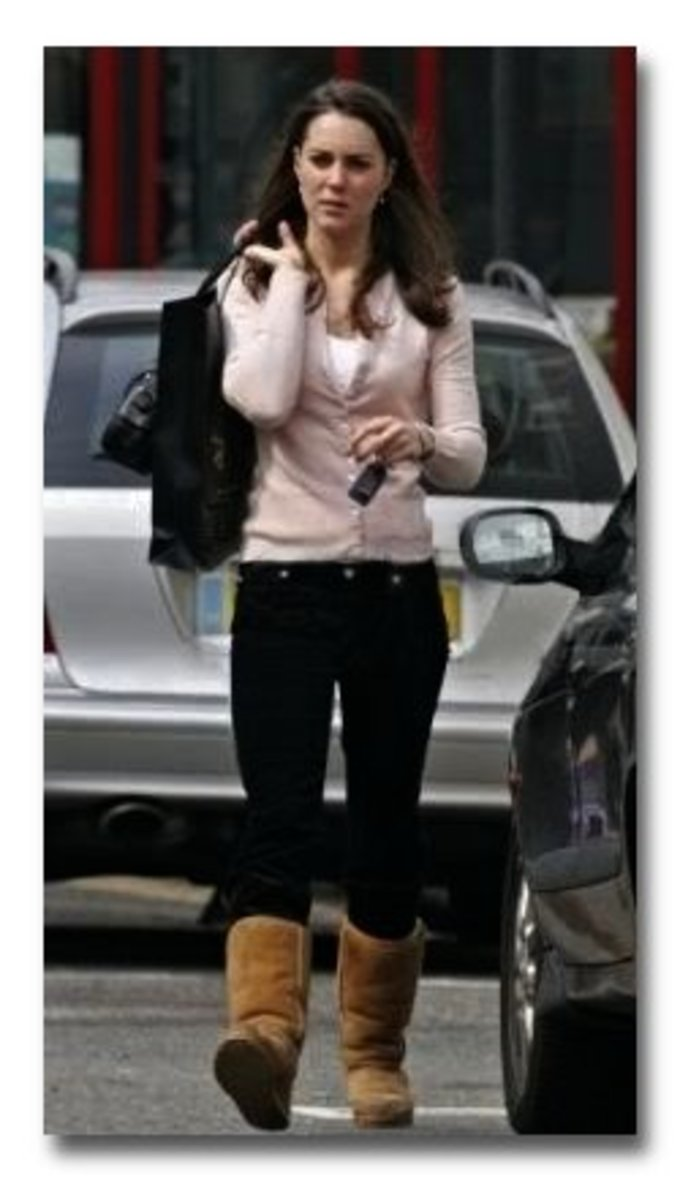 Kate Middleton in black jeans and tan Uggs