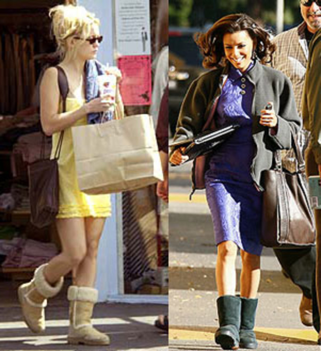Kate Hudson sporting tan Ugg boots and Eva Longoria in black Ugg boots in split photo