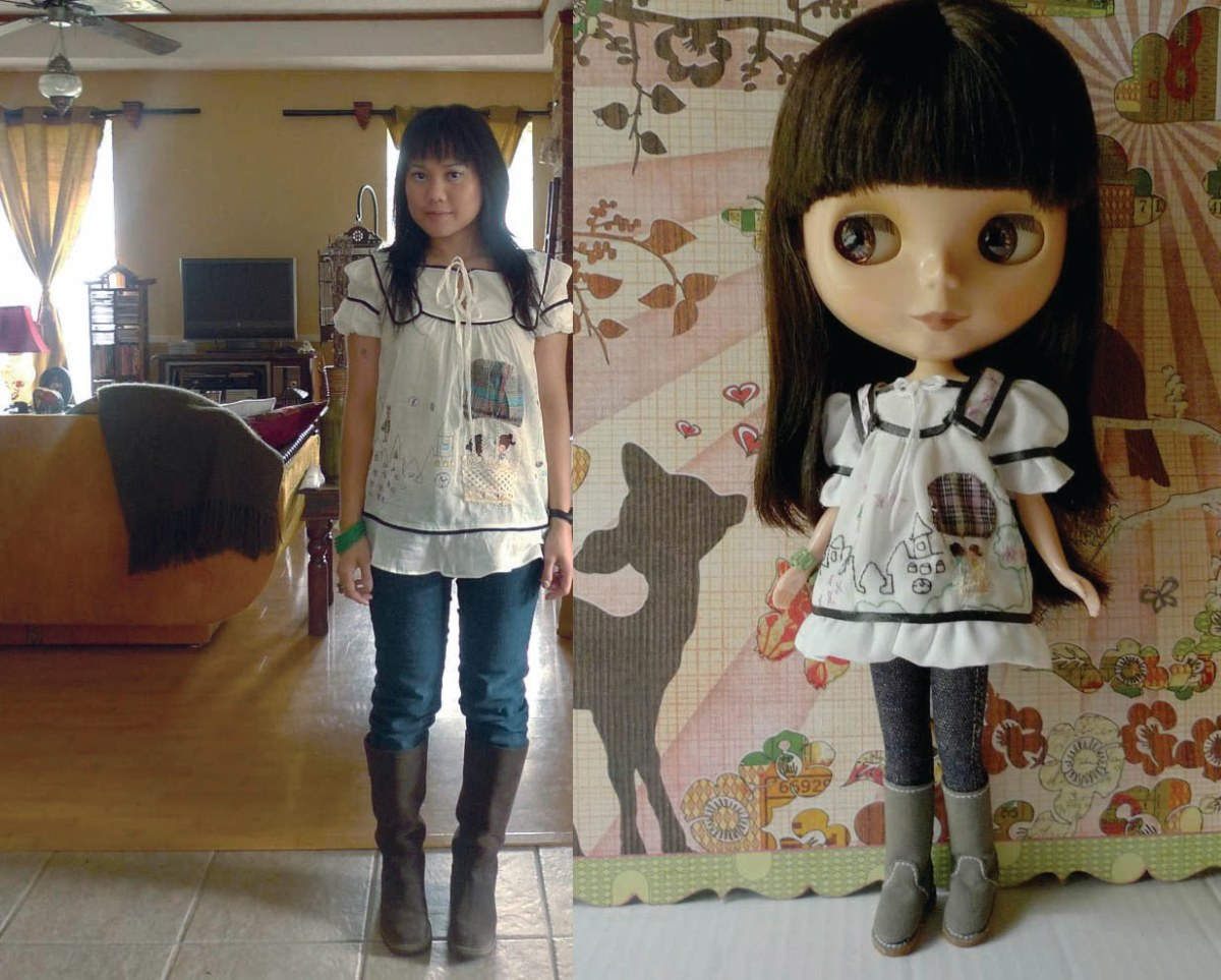doll and girl side by side in matching outfit with jeans and grey UGGs