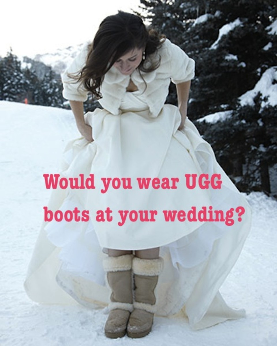 Brunette girl in wedding dress and Ugg boots