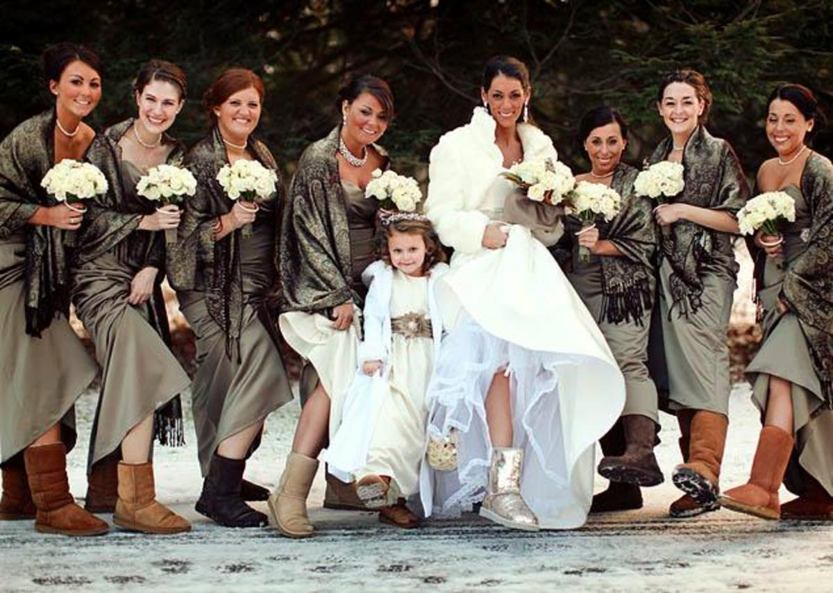 Wedding party donning wedding apparel with UGG boots including the bride and groom and the flower girl