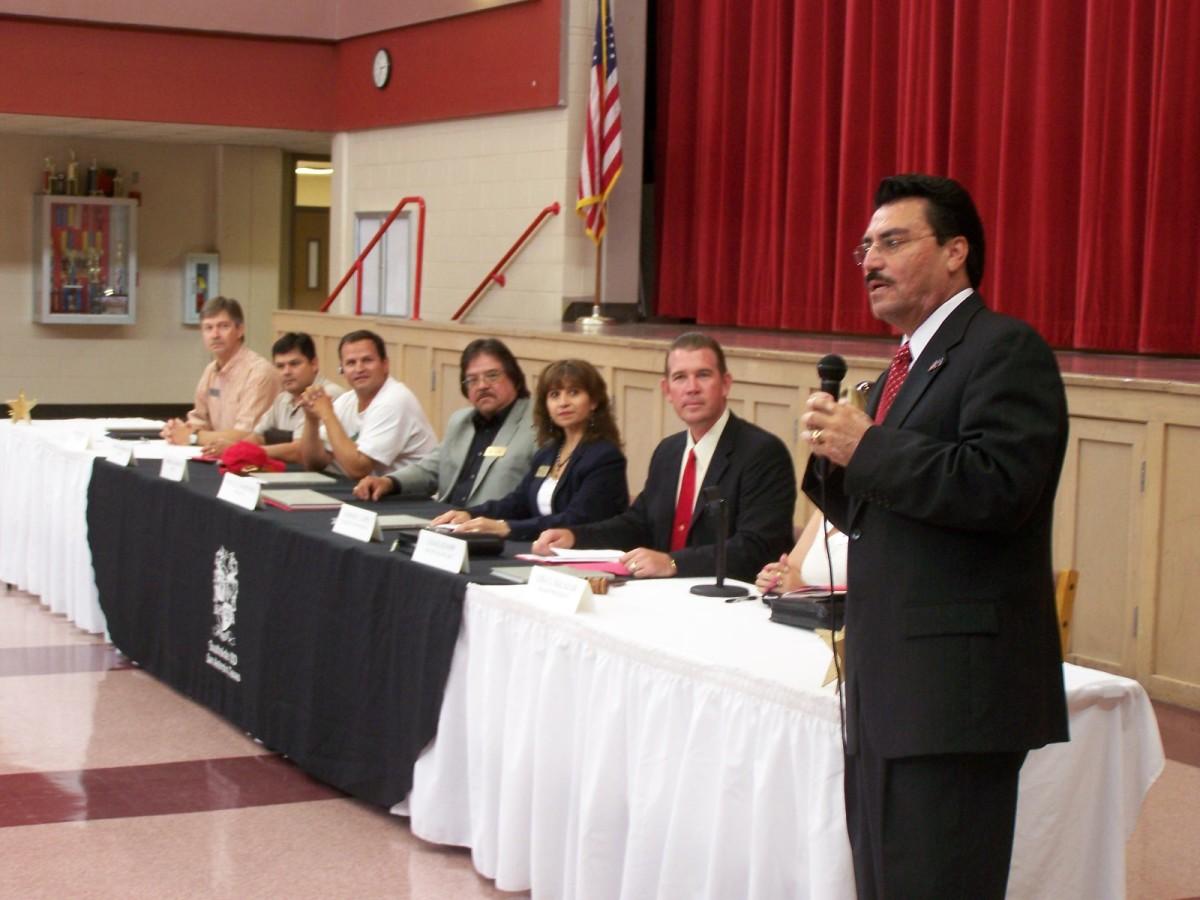 Southside ISD School Board L-R: Rick Quebe, Daniel Rodriguez, Loren Brewer, Raul Martinez, Margie Lopez, Craig Knapp, Lisa Salazar, Dr. Juan Antonio, Jasso.