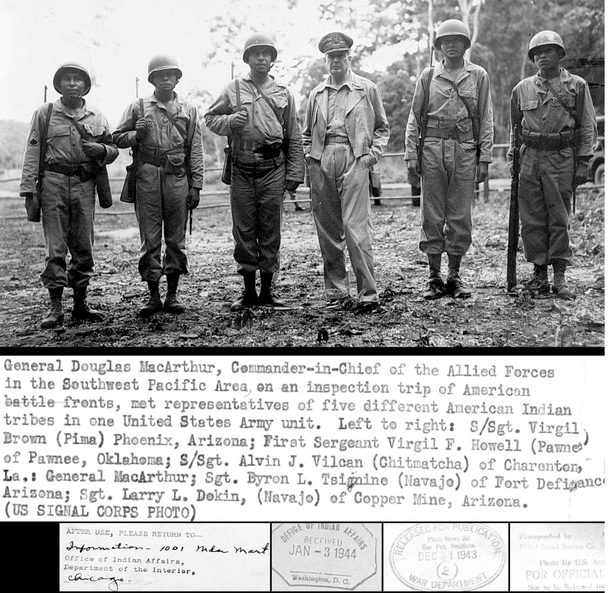 Navajo Code Talkers, included in 33 different tribes (including Kentucky Shawnee) that sent soldiers to help the Allies in WWI and WWII. Most of the soldiers had been recognized by the federal government by late 2013.