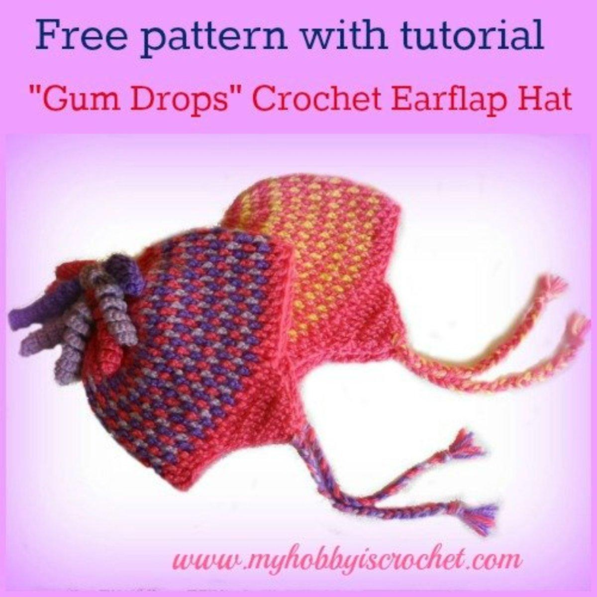 Crochet Earflap Hat Gum Drop