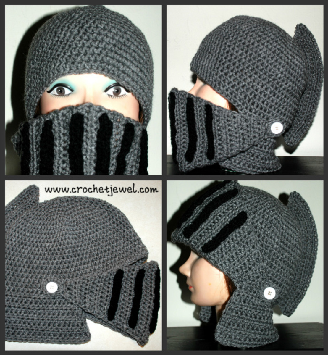 Crochet Men's Knight Helmet Hat