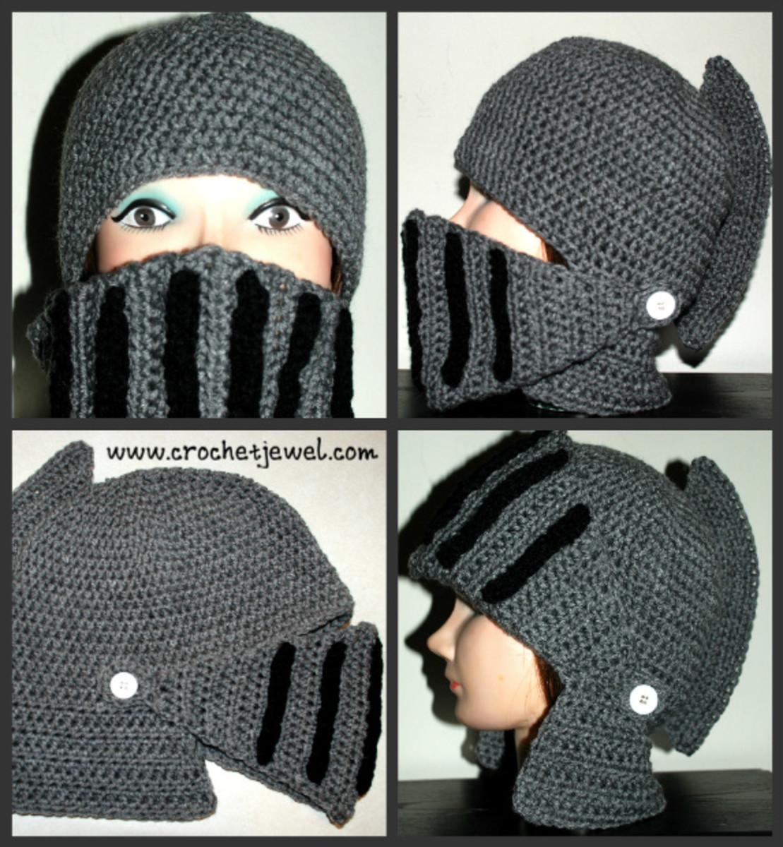 Crochet Men's Knight Helmet Hat