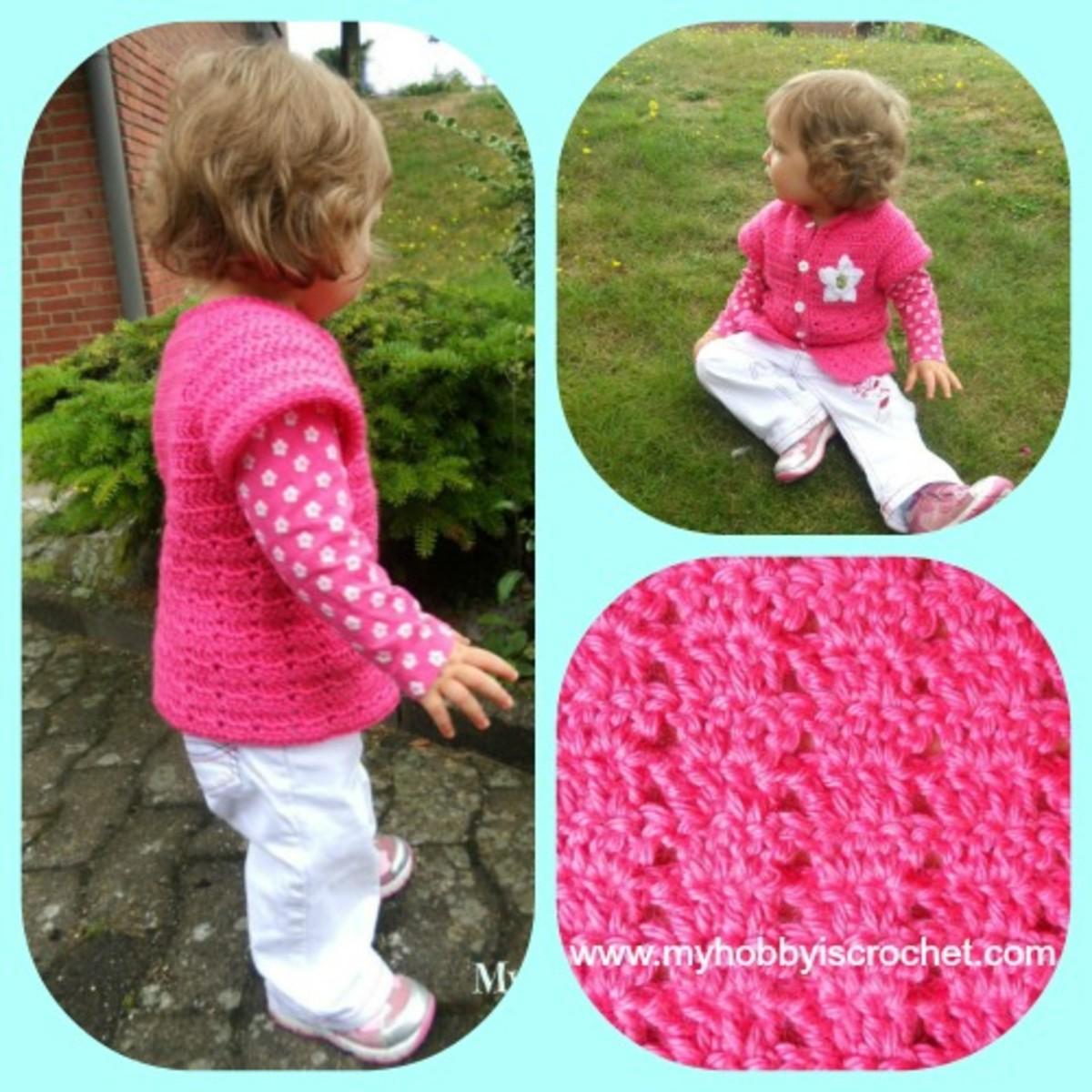 Little Girl's Cardigan with Short Sleeves - http://www.myhobbyiscrochet.com/2013/09/little-girls-cardigan-with-short-sleeves.html